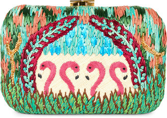 Flamingo Straw Clutch by Aranaz