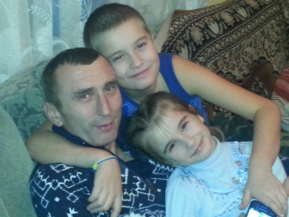 Vasyl with his son Yaroslav and daughter Olha.