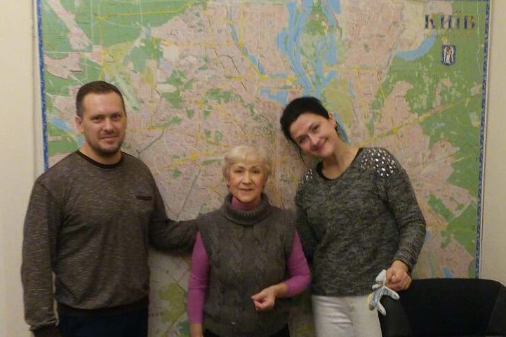Sergey, Valentina & Lena mapping out where our home bound widows live in Kyiv.