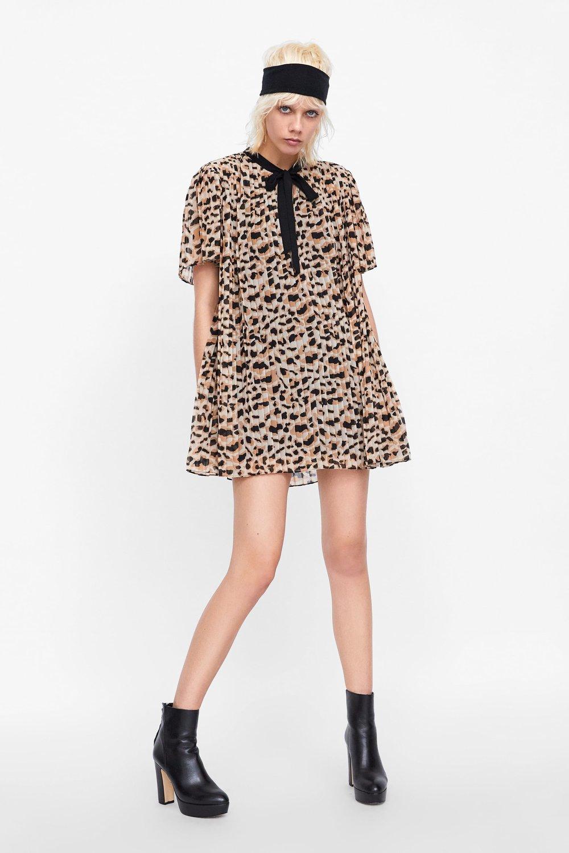 Zara: Animal Print Jumpsuit Dress