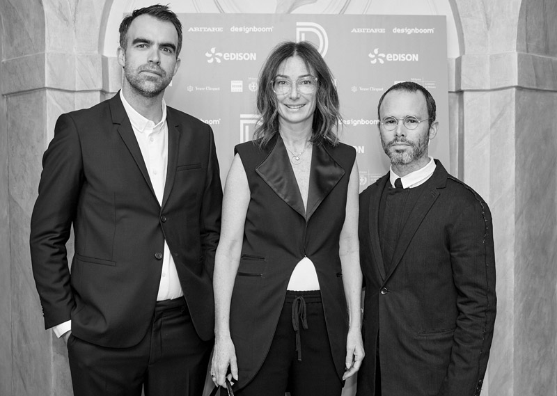 Daniel Arsham and Alex Mustonen of Snarkitecture with Sara Ferrero, CEO of Valextra have received the 'Distribution' prize.