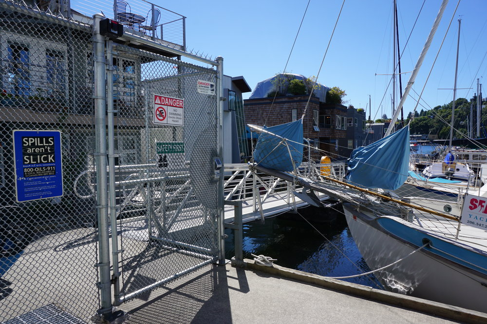 Entry to the dock is secured with gated access.