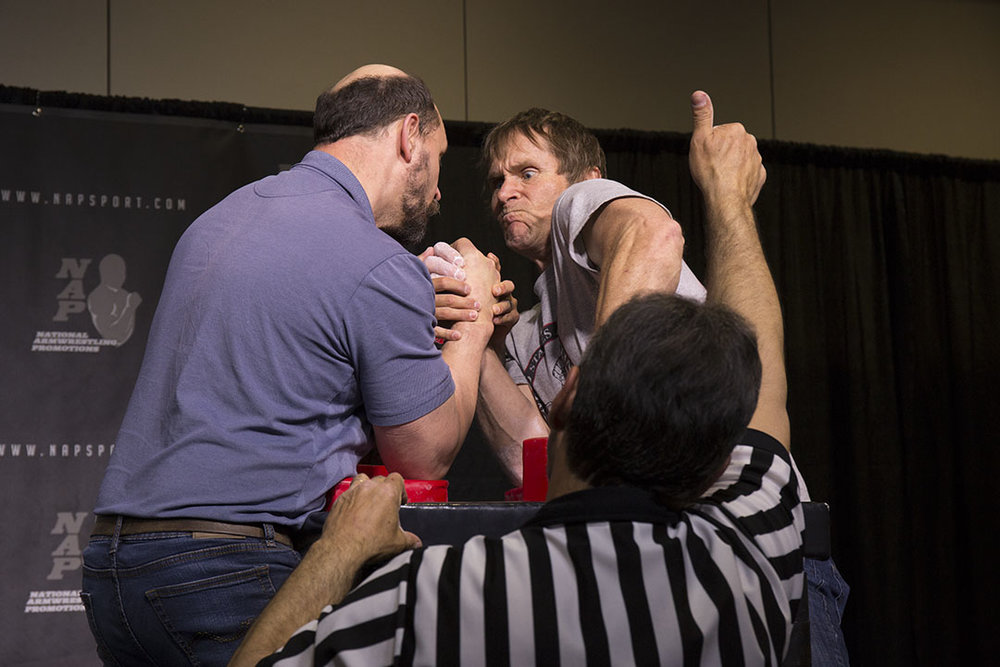 Mike Limoges (right) competes at the 2017 US Armwrestling Open in Lincoln City.