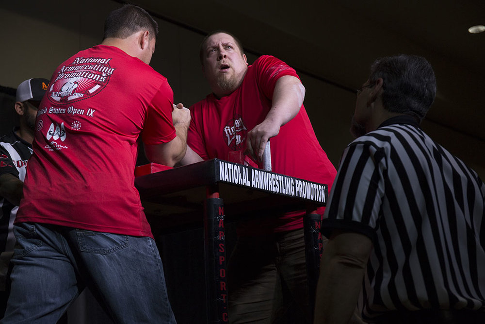 Bert Carrillo (center) anticipates the start of a match at the 2017 US Armwrestling Open in Lincoln City.