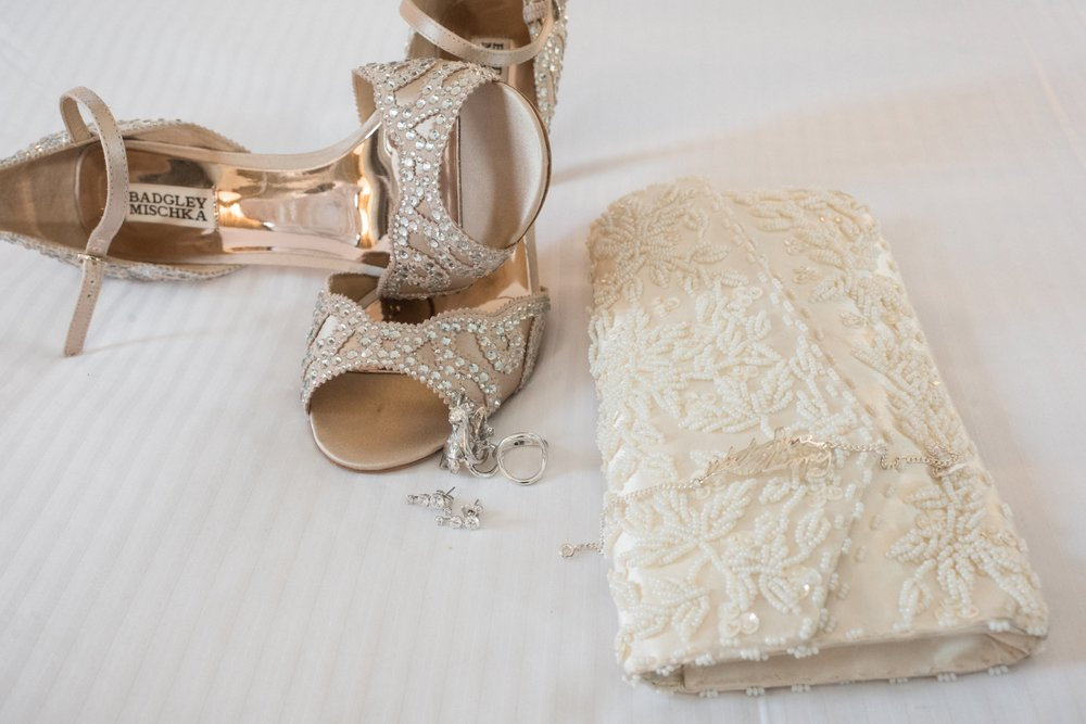 Nothing better than perfect wedding shoes and meaningful jewelry on your wedding day.