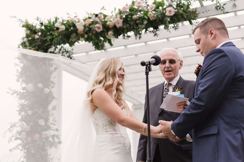 The ceremony had an extra personal touch because it was officiated by Kayley's grandfather!