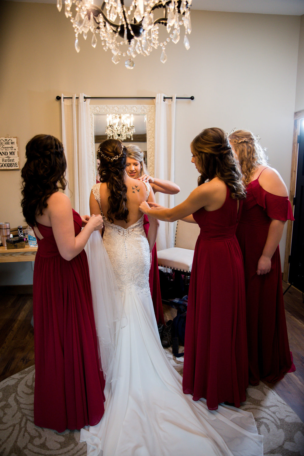 Katie and her bridesmaids all looked so beautiful! Hello stunning wedding dress embellishments!