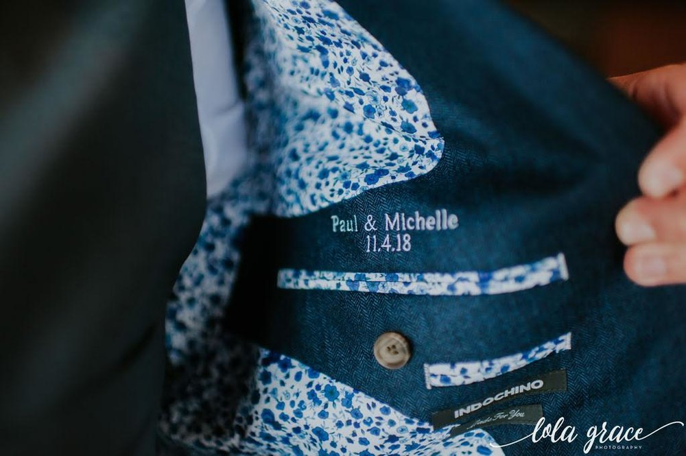 Paul had his suit jacket embroidered with their wedding date! What a great keepsake from their wedding.