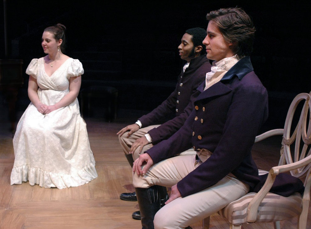 Jess Rawls as ELIZABETH BENNET, Darrel Powell as COLONEL FITZWILLIAM, and Zechariah Pierce as MR. DARCY.