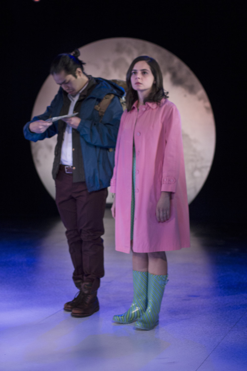 Eston Fung as LYSANDER, Stephanie Machado as HERMIA