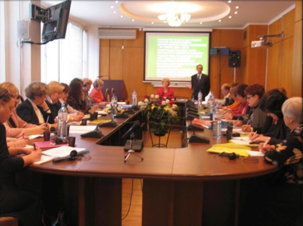 Dr. Olga addresses a teacher's conference in Moscow.