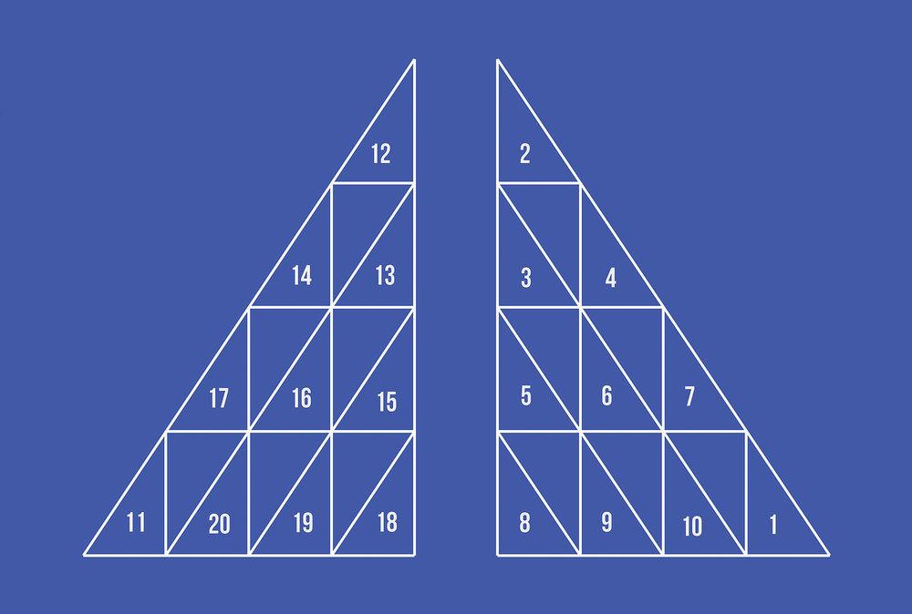 Antonin Gerson , La pyramide , Série :  La modénature du rond-point , 2016, Sérigraphie encre bleue, 70 x 50 cm
