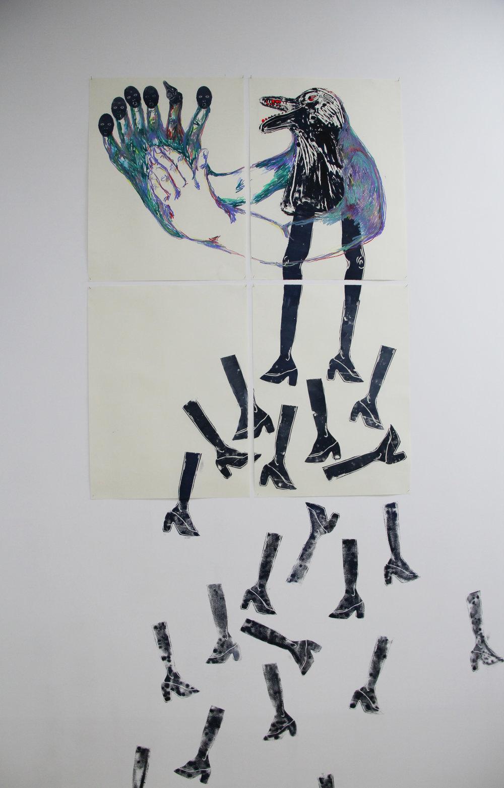Cécile Guettier,  J'ai eu la bassesse de tuer une mouette aujourd'hui , 2017, 96x128cm,techniques mixtes : monotype, linogravure, pastel gras, peinture.
