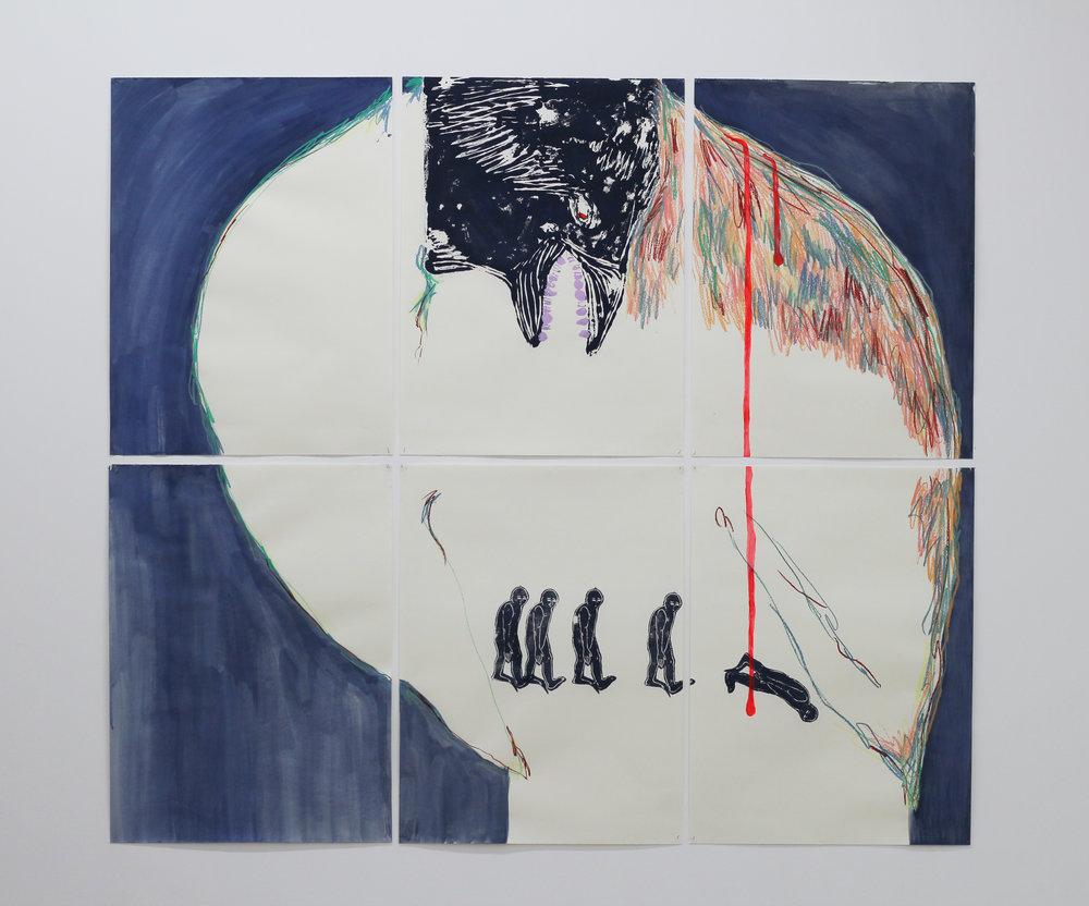 Cécile Guettier,  J'ai eu la bassesse de tuer une mouette aujourd'hui , 2017, 144x128cm,techniques mixtes : monotype, linogravure, pastel gras, peinture.