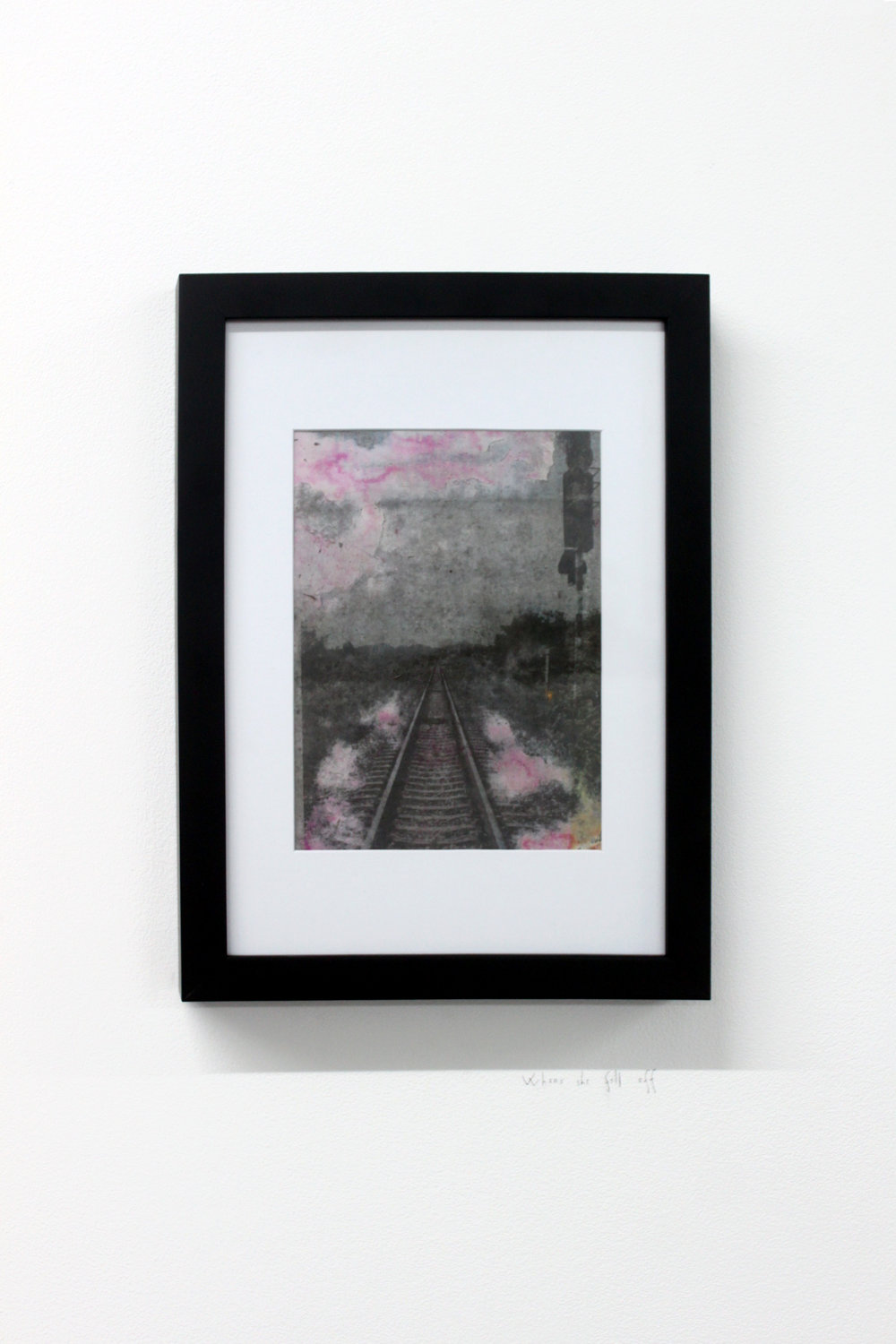 Edouard Burgeat,  Train rails acid fragments, When she fell off,  Analog photo-transfer on steel plate, 21x15cm
