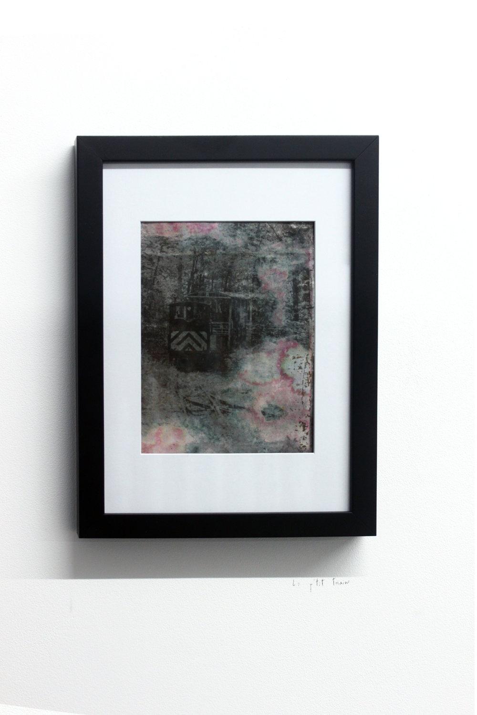 Edouard Burgeat, Train rails acid fragments, Le petit train, photographie argentine transférée sur acier, 21x15cm
