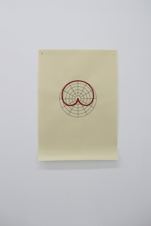 Antonin Gerson,  Rouge - Cardioïde,  sérigraphie, gouache, 58x84cm 2018