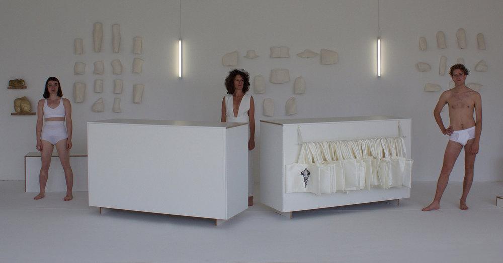 Pauline Gompertz , Orthèse Shop,  Display mélaminé serti sur moquette blanche, Modèles, Orthèses en plâtre et parure dorée, Installation Dnsep 2016, Beaux-Arts de Nantes
