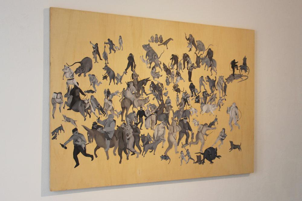 Céleste Richard Zimmermann,  Le massacre des innocents,  2017   150 x 185 cm, huile sur bois.