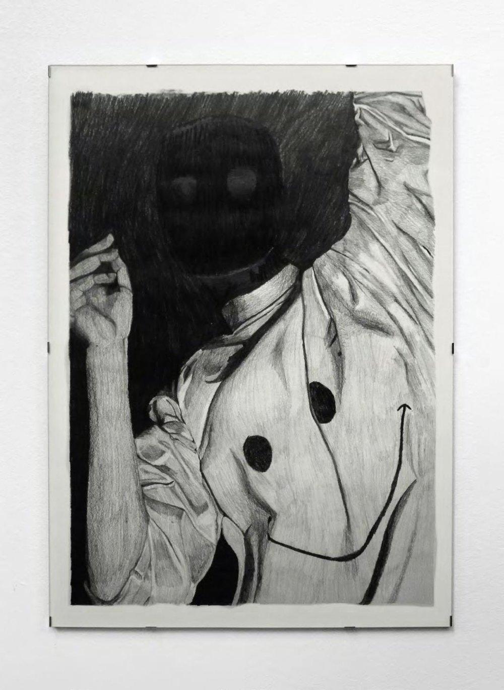 Louise Guerraud,  A mob rises from the mud , 2018, série de 8 déssins (50 x 70 cm), graphite