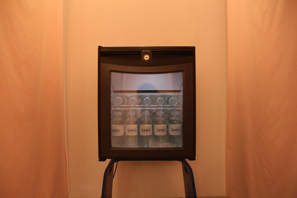 Pauline Gompertz,  AQUA,  frigo mini bar, bouteilles d'eau SNO, 50x100x48cm, 2018