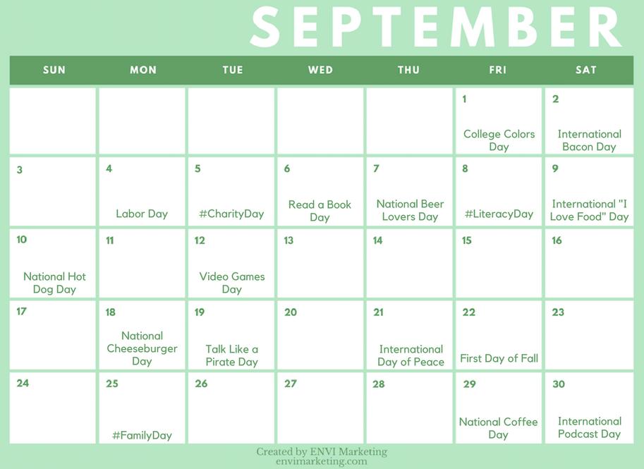 your september social media content calendar envi marketing we