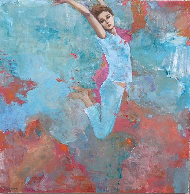 'Quiero volar! ' 1.20m x 1.20m de la serie personitas voladoras ... no les parece lindo poder sentir esa libertad? . . . . #art #arte #contemporaryart #artecontemporaneo  #artcollectors #pintura #uruguay #retratocontemporaneo #artefigurativo #galerialoscaracoles #artistas #danza #galeria #artgallery