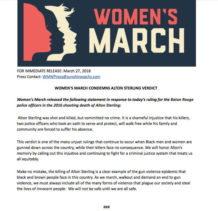 Press Release Womens March Alton Sterling Verdict