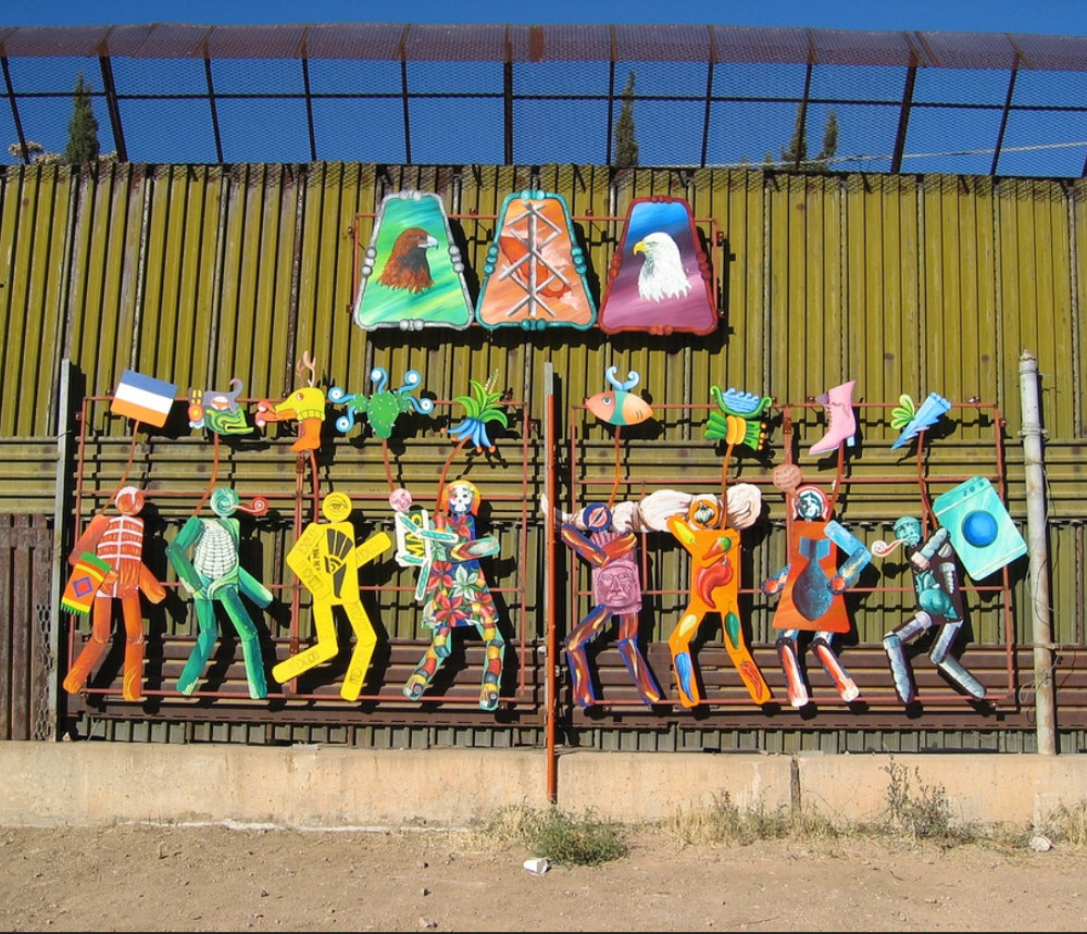 """Titled """"Paseo de Humanidad"""" (Parade of Humanity), originally installed in 2004. Click the photo to read more about the history of Paseo De Humanidad."""
