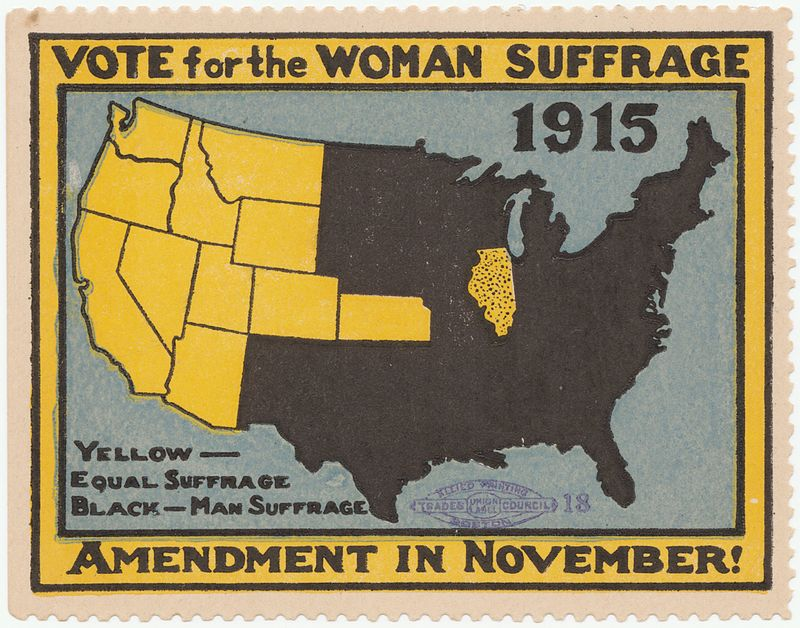 Unknown -  Cornell University: Persuasive Cartography: The PJ Mode Collection    A version of the suffrage map in color for use as a poster stamp.