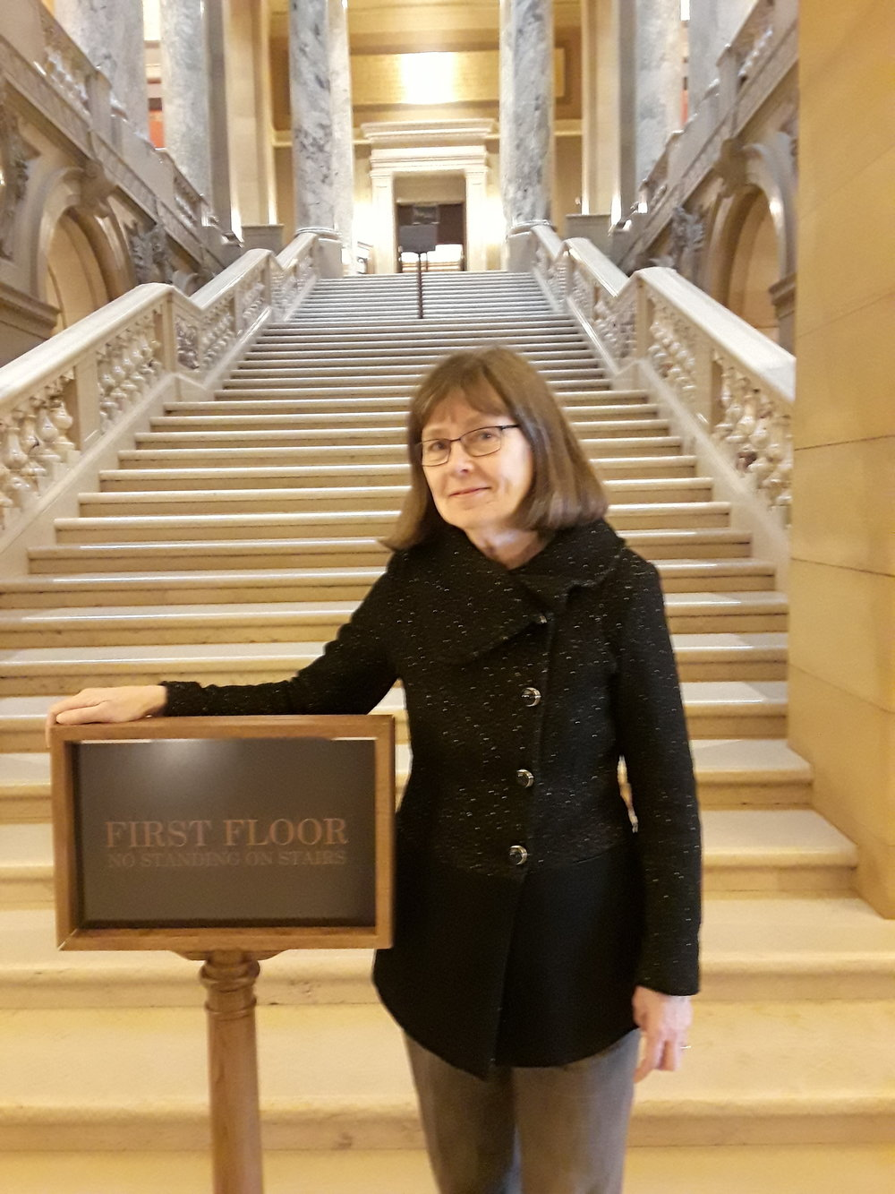 "Kathy Hollander, ""Comfortable at the Capitol"" tour guide."