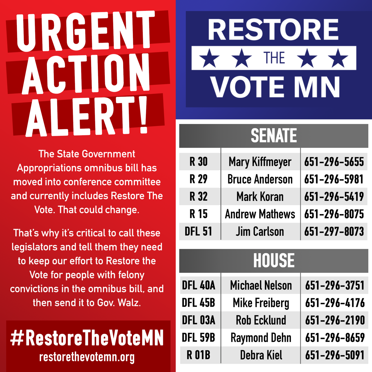 Act Now-Women's March Minnesota-Restore the Vote to Minnesotans!
