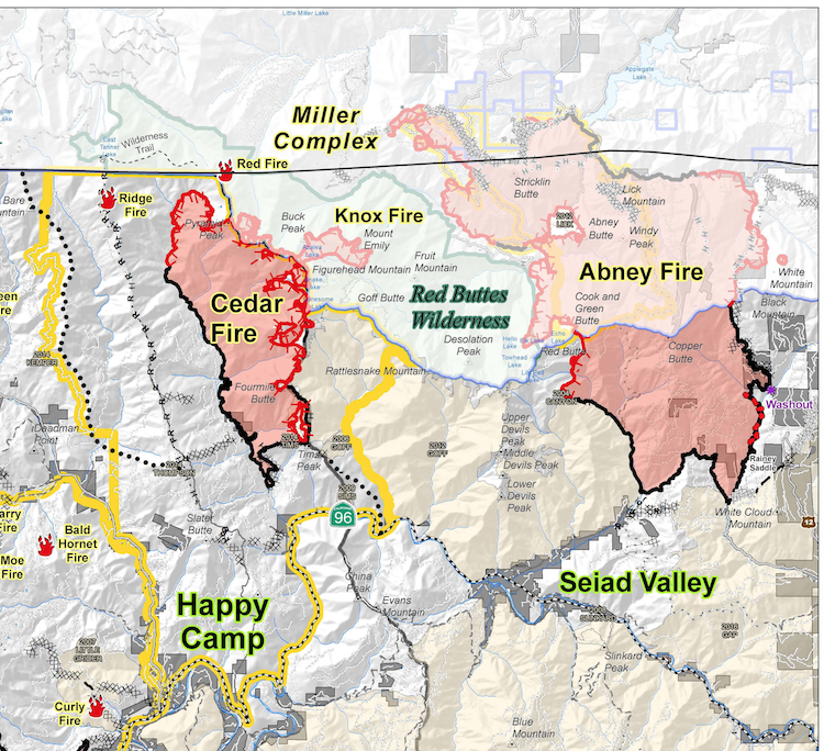 Abney Fire of the Miller Complex crosses into Klamath National Forest