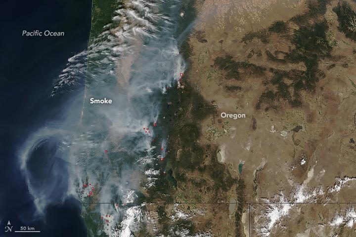 Smoke from 2018 Oregon Wildfires from the NASA MODIS Satellite