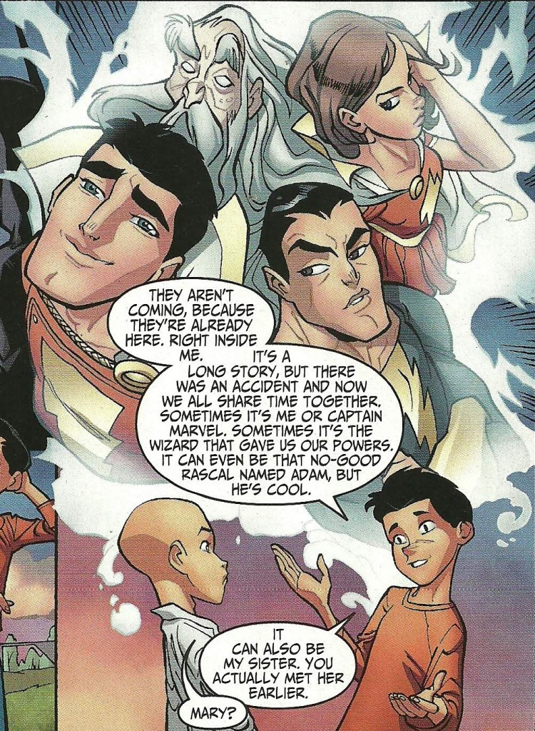 What a great idea!  Also, that little Green Lantern has a crush on the Mary portion of Shazam.  Awesome!