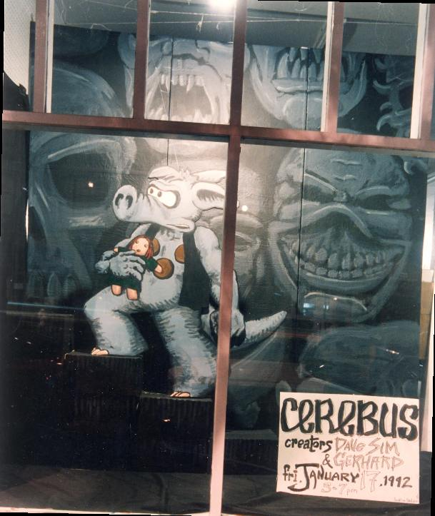 Cerebus. Photo by Dennis McGovern. Art by Chris Hsiang. Cerebus is (c) Dave Sim. Done for Dave Sim signing.