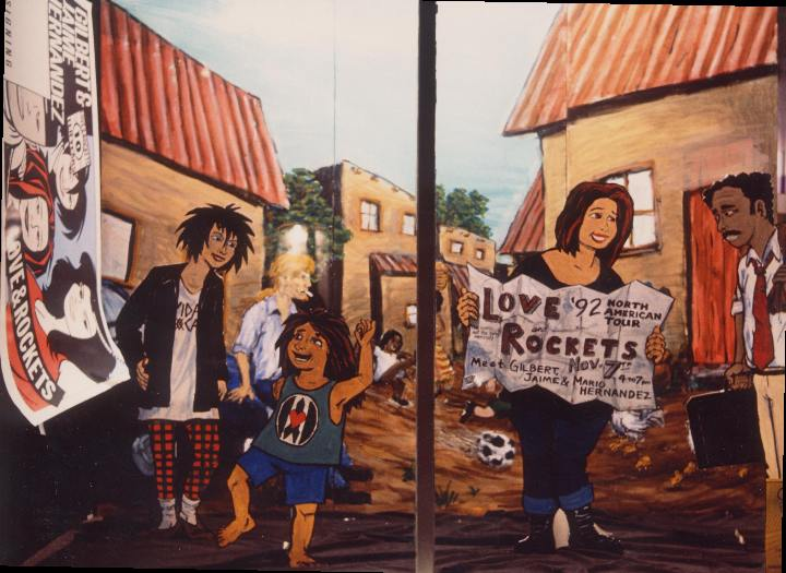 Love & Rockets. Photo by Dennis McGovern. Art by Chris Hsiang. Love & Rockets characters (c) Gilbert & Jaime Hernandez. Done for signing by Hernandez Brothers.