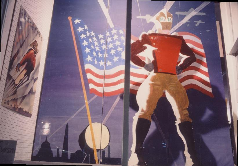 Rocketeer. Photo by Dennis McGovern. Art by David Marshall. Rocketeer is (c) Dave Stevens (I think). Done for the Fourth of July.
