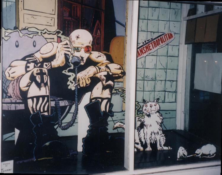 Transmetropolitan. Art by Thierry LeLong. Transmetropolitan (c) Warren Ellis & Derick Robertson. Done to promote Transmet.