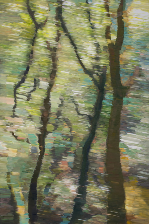 WALKING • oil and archival print on canvas • 72 by 48 inches • 2015