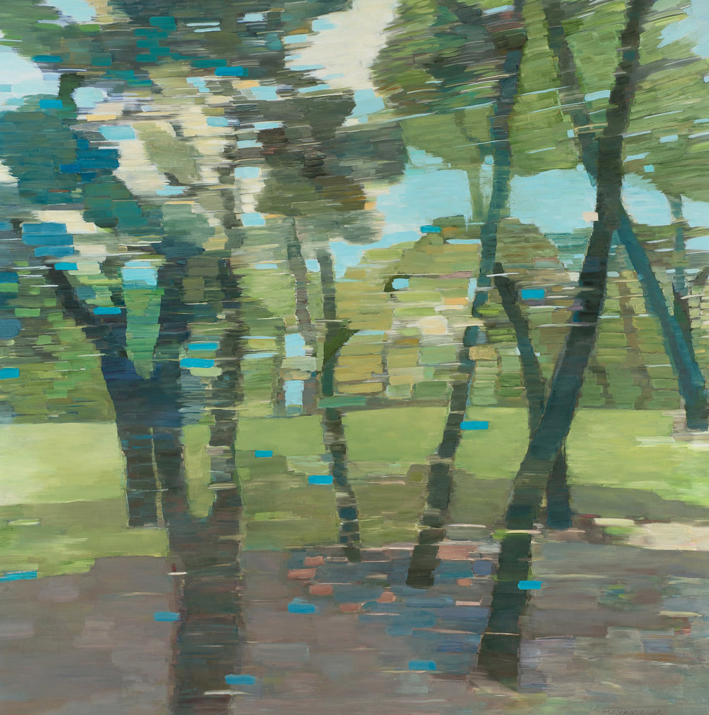 NOTAN PARK • oil and archival print on canvas, mounted on wood • 44 by 44 inches • 2016