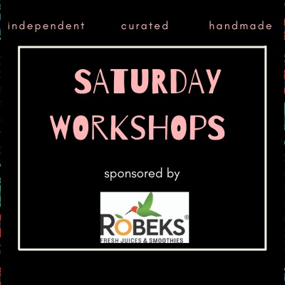 Saturday - 11:00 - Florida Sign Making and Powder Coating Workshop with Cotton Wood Concepts12:30 - Beginning Embroidery Workshop with Urban Pigtails2:00 - Candle Making Workshop with MacMaddies3:30 - Stamped Leather Bracelet Workshop with Anney Life Designs$10.00 per workshop. All supplies are included. All workshops will last 1 hour.