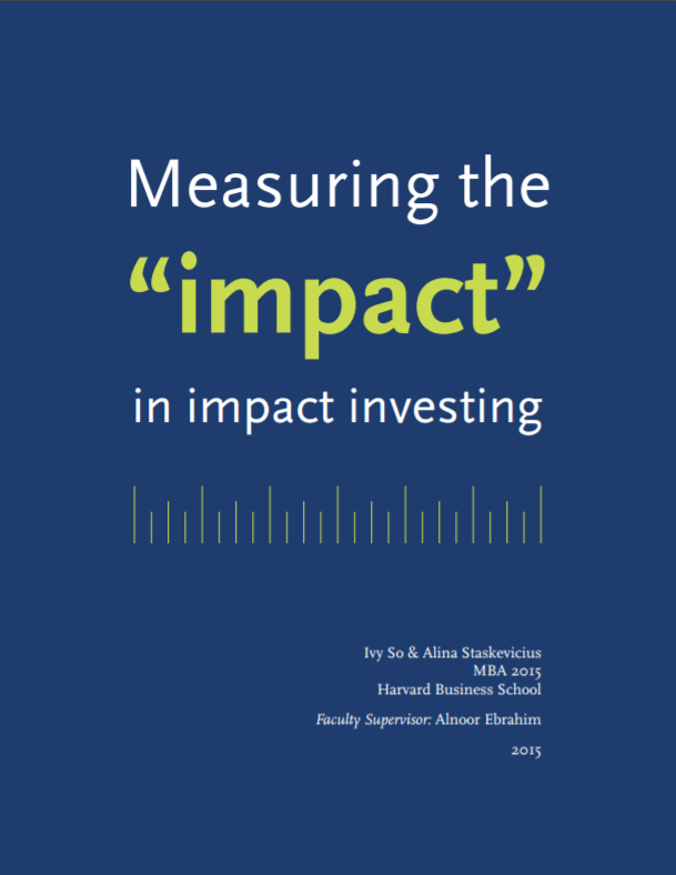 SVT - Impact Management, PDF, Impact Investing