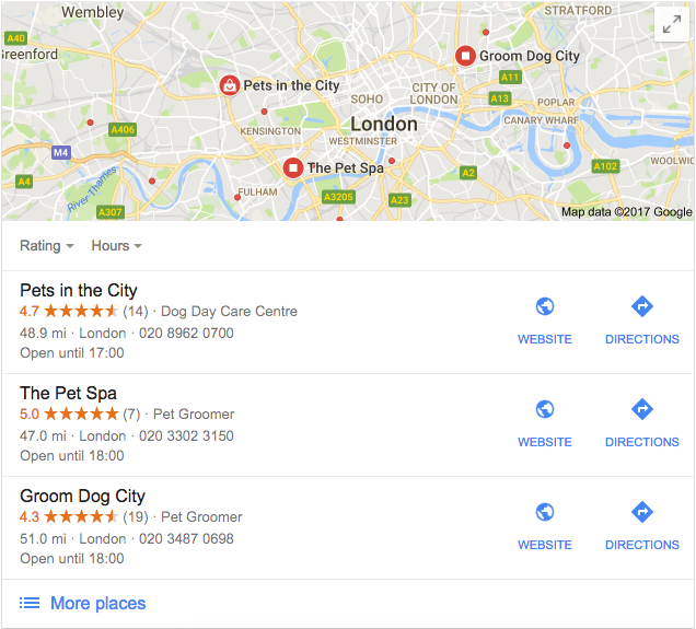 Google my business search results example