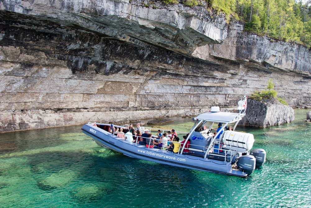 SIGNATURE WAVE TOUR - Sun on your face, wind in your hair and wilderness as far you can see. Discover the rugged beauty of Fathom Five Marine Park on our signature 2.25 hour guided boat tour on board the WAVE II. Let us take your breath away!Adults $47 - Seniors $42 - Child $39