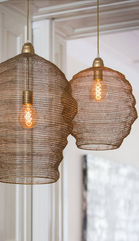 Rose gold chain mail light Two sizes available these lights work well as a group or on their own. From £89