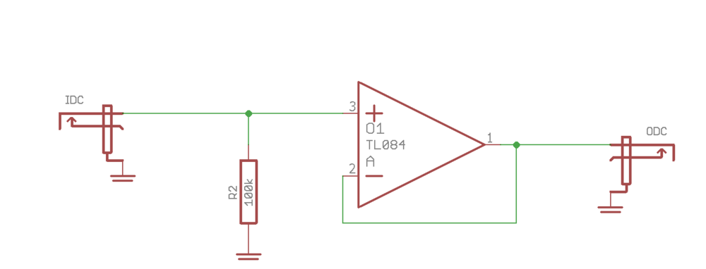 A simple DC-coupled circuit. Nothing is filtered out in this circuit.