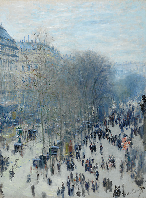 Claude Monet, French (1840-1926). Boulevard des Capucines, 1873-1874. Oil on canvas, 31 5/8 x 23 ¾ inches (80.3 x 60.3 cm). The Nelson-Atkins Museum of Art, Kansas City, Missouri. Purchase: the Kenneth A. and Helen F. Spencer Foundation Acquisition Fund, F72-35.