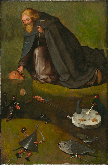 Hieronymus Bosch, Netherlandish (ca. 1450–1516). The Temptation of St. Anthony, ca. 1500-1510. Oil on panel (oak), 15 3/16 x 9 7/8 inches (38.6 x 25.1 cm). The Nelson-Atkins Museum of Art, Kansas City, Missouri. Purchase: William Rockhill Nelson Trust, 35-22.