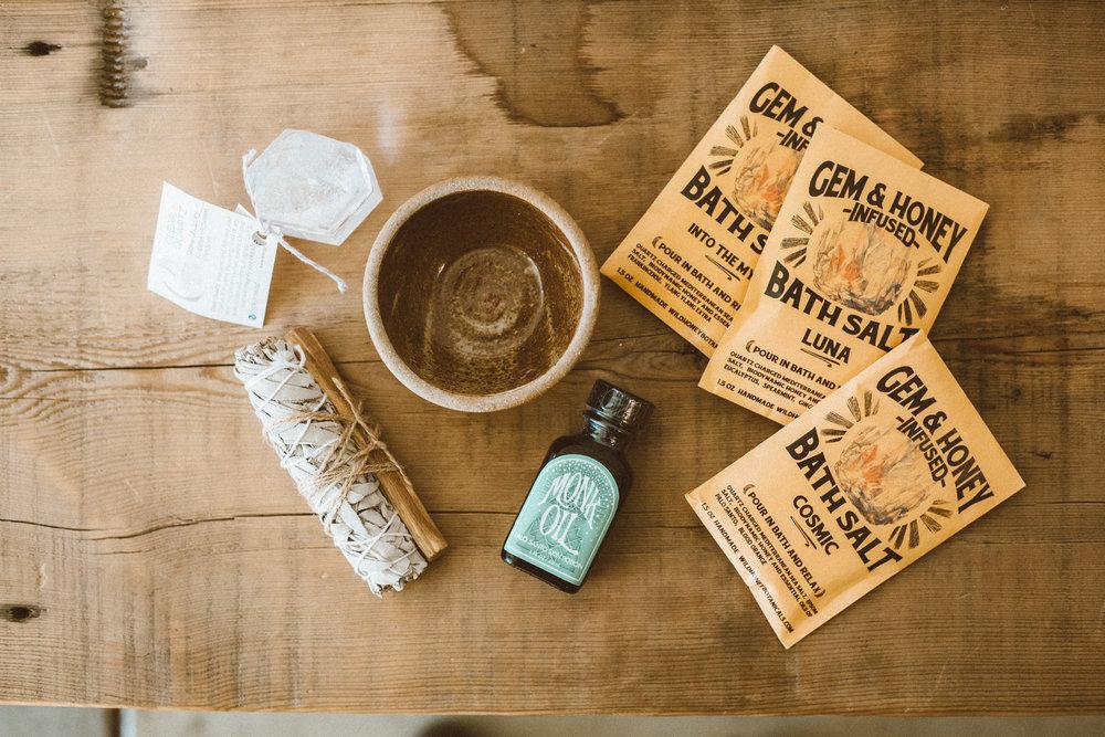 Bath salt packs, sage bundles and more from Sage Center.